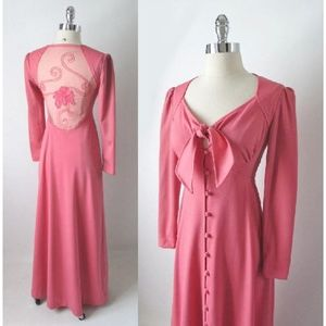 70's Pink Tie Top Sheer Back Party Dress S